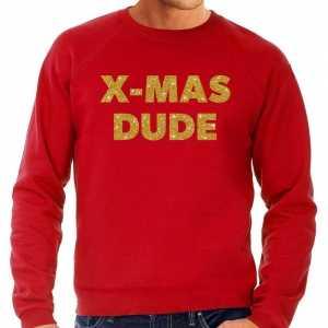 Foute kersttrui x-mas dude gouden glitter letters rood heren