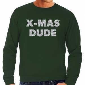Foute kersttrui x-mas dude zilveren glitter letters groen heren