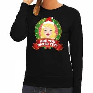 Foute kersttrui zwart are you naked yet voor dames