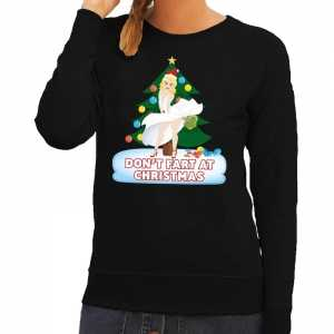 Foute kersttrui zwart dont fart at christmas voor dames