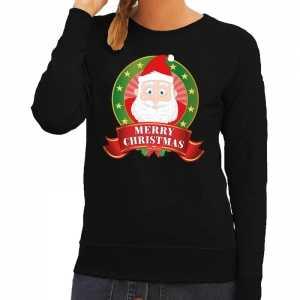 Foute kersttrui zwart kerstman merry christmas voor dames