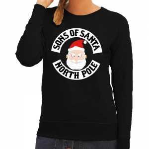 Foute kersttrui zwart sons of santa voor dames