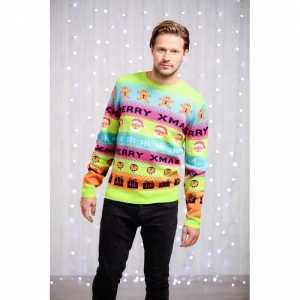 Foute kleurrijke heren kersttrui met kerstfiguren