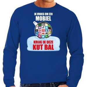 Foute kut kerstbal kersttrui / kerst outfit ik vroeg om een mobiel krijg ik deze kut bal blauw voor heren