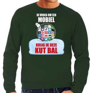 Foute kut kerstbal kersttrui / kerst outfit ik vroeg om een mobiel krijg ik deze kut bal groen voor heren