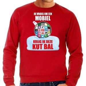 Foute kut kerstbal kersttrui / kerst outfit ik vroeg om een mobiel krijg ik deze kut bal rood voor heren