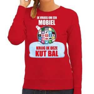 Foute kut kerstbal sweater / kersttrui outfit ik vroeg om een mobiel krijg ik deze kut bal rood voor dames