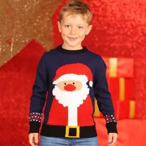 Foute navy kinder kersttrui met kerstman