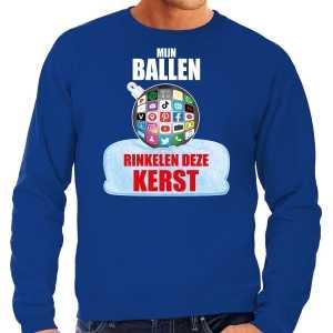 Foute rinkelende kerstbal sweater / kersttrui mijn ballen rinkelen blauw voor heren