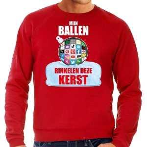 Foute rinkelende kerstbal sweater / kersttrui mijn ballen rinkelen rood voor heren