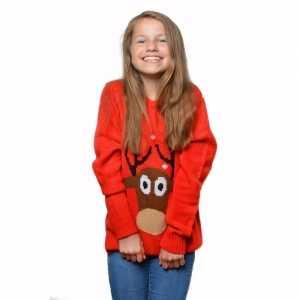 Foute rode kersttrui met rendier voor kinderen