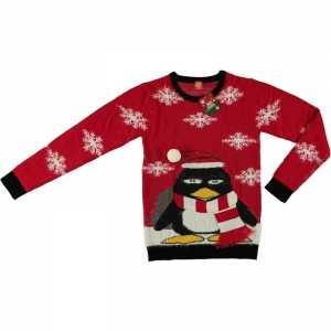 Foute rode kersttrui pinguin voor volwassenen