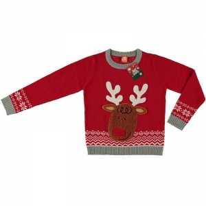 Foute rode kersttrui rendier voor kinderen
