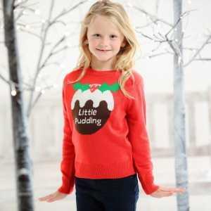 Foute rode kersttrui voor kinderen little pudding