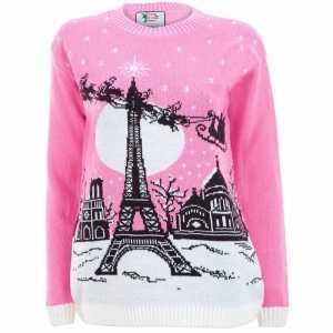 Foute roze kersttrui paris voor dames