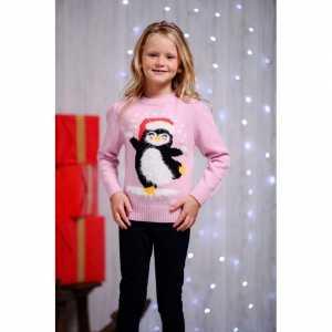 Foute roze kersttrui voor kinderen dansende pinguin