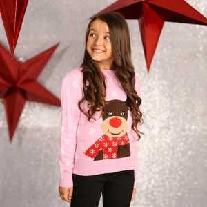 Foute roze kersttrui voor meisjes