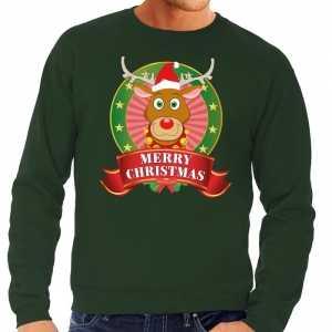 Foute rudolf kersttrui groen merry christmas voor heren