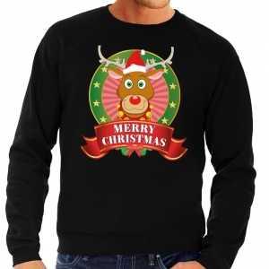 Foute rudolf kersttrui zwart merry christmas voor heren