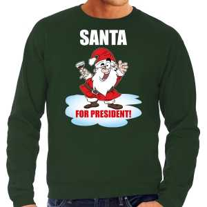 Foute santa for president kersttrui / kerst outfit groen voor heren