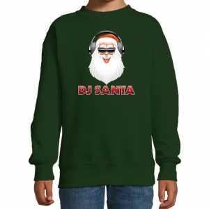 Foute stoere kersttrui / sweater dj santa groen voor kinderen