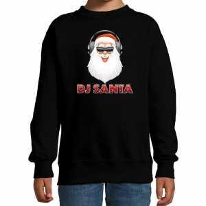 Foute stoere kersttrui / sweater dj santa zwart voor kinderen