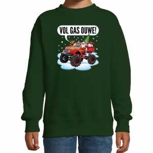 Foute stoere kersttrui / sweater vol gas ouwe monstertruck groen kids