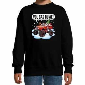 Foute stoere kersttrui / sweater vol gas ouwe monstertruck zwart kids