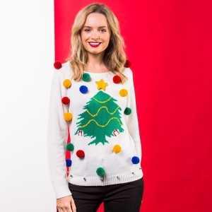 Foute witte kerst trui 3d kerstboom voor dames