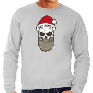Grote maten bad santa foute kersttrui / outfit grijs voor heren
