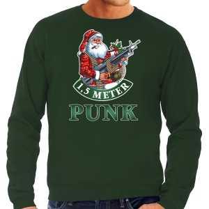 Grote maten foute kersttrui / outfit 1,5 meter punk groen voor heren