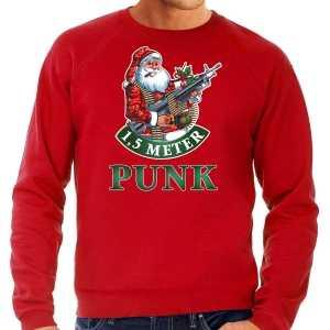Grote maten foute kersttrui / outfit 1,5 meter punk rood voor heren