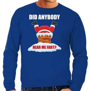 Grote maten foute kersttrui / outfit did anybody hear my fart blauw voor heren