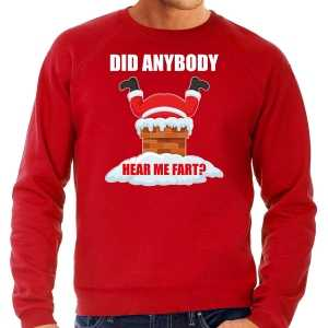 Grote maten foute kersttrui / outfit did anybody hear my fart rood voor heren