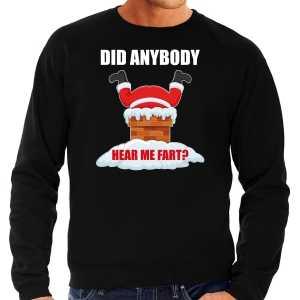 Grote maten foute kersttrui / outfit did anybody hear my fart zwart voor heren
