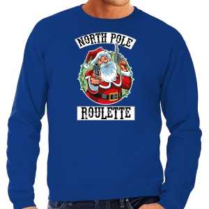 Grote maten foute kersttrui / outfit northpole roulette blauw voor heren
