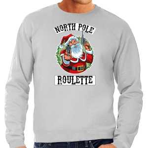 Grote maten foute kersttrui / outfit northpole roulette grijs voor heren