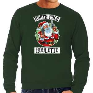 Grote maten foute kersttrui / outfit northpole roulette groen voor heren