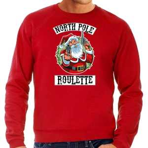 Grote maten foute kersttrui / outfit northpole roulette rood voor heren