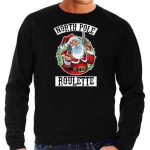 Grote maten foute kersttrui / outfit northpole roulette zwart voor heren