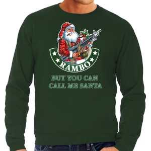 Grote maten foute kersttrui / outfit rambo but you can call me santa groen voor heren