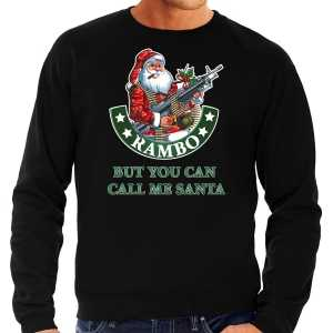 Grote maten foute kersttrui / outfit rambo but you can call me santa zwart voor heren