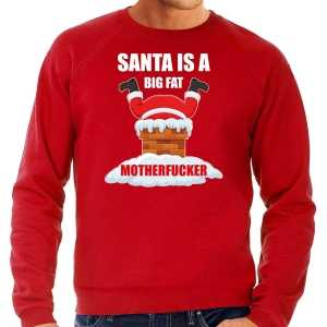 Grote maten foute kersttrui / outfit santa is a big fat motherfucker rood voor heren