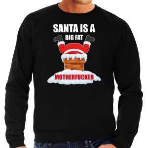 Grote maten foute kersttrui / outfit santa is a big fat motherfucker zwart voor heren
