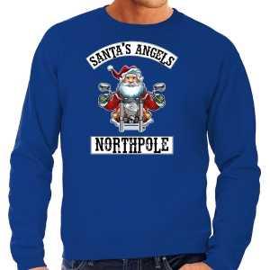 Grote maten foute kersttrui / outfit santas angels northpole blauw voor heren