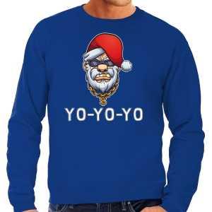 Grote maten gangster / rapper santa foute kersttrui / outfit blauw voor heren