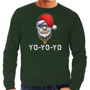 Grote maten gangster / rapper santa foute kersttrui / outfit groen voor heren