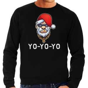Grote maten gangster / rapper santa foute kersttrui / outfit zwart voor heren