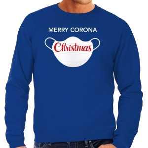 Grote maten merry corona christmas foute kersttrui / outfit blauw voor heren