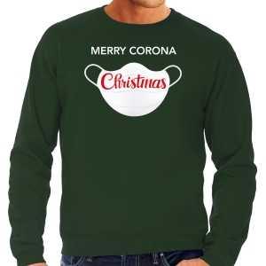 Grote maten merry corona christmas foute kersttrui / outfit groen voor heren